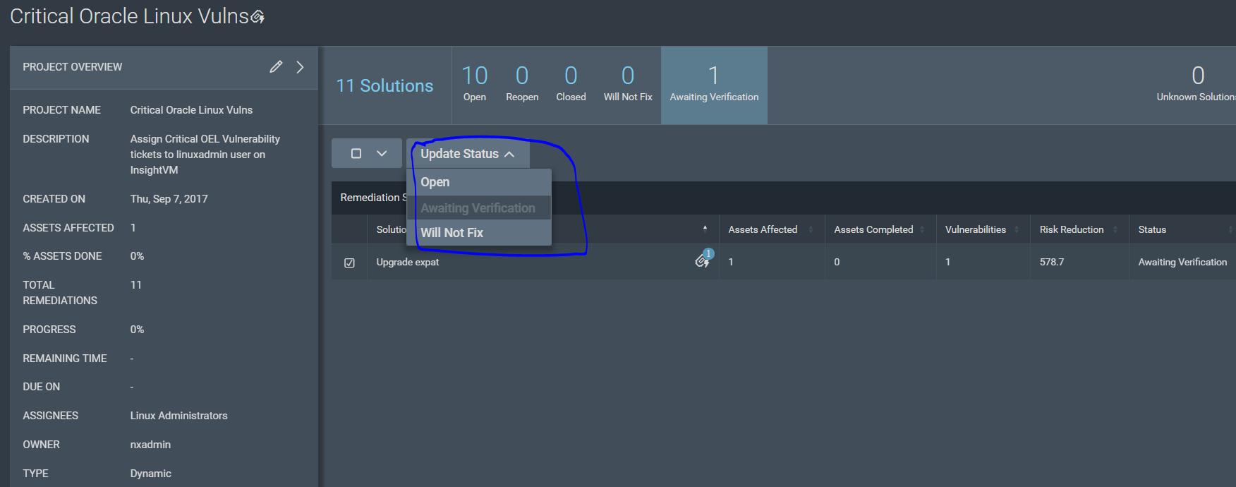 Rapid7 InsightVM Builtin ServiceNow Remediation Projects